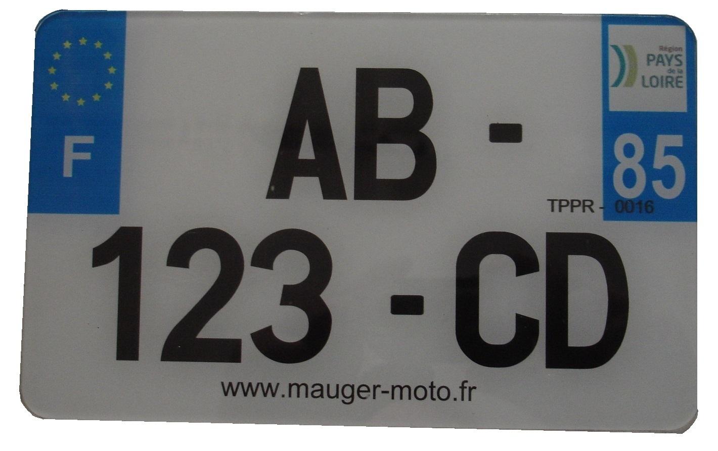plaque immatriculation blanche homologu 210 mm x130 mm ets mauger