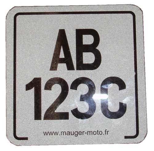 Plaque immatriculation 100mm X 100mm